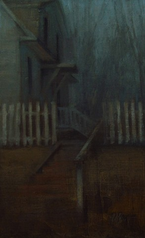 Newton Kansas Stairway Stairs Creepy Rainy Bethel College Painting