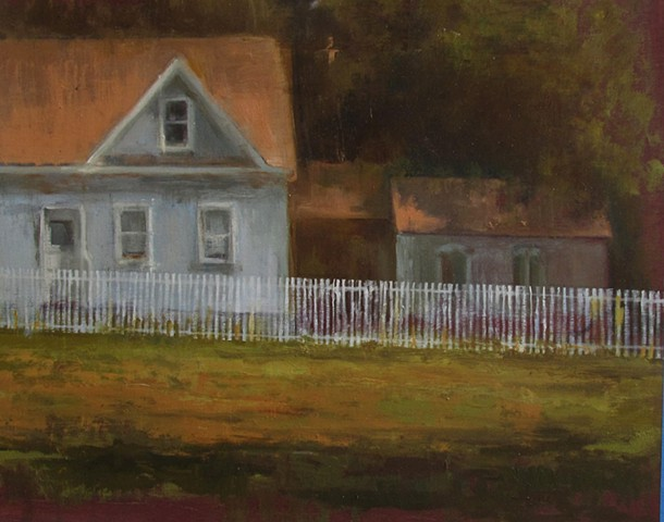 Bethel college Newton Kansas Picket Fence Mennonite home house oil painting
