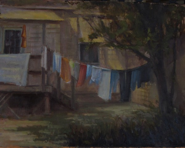 Newton Kansas Bethel College clothes line oil painting hanging laundry