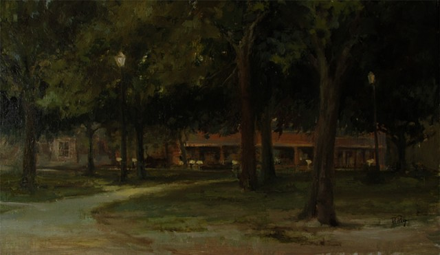Bethel College Newton Kansas Oil Painting campus nocturn