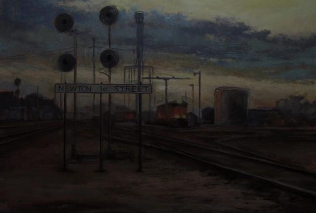 Newton Kansas First Street Oil painting Railroad Tracks crossing