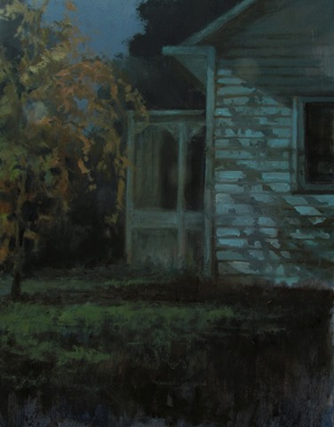 Oil painting by Debra Payne of a home in Augusta Missouri at night that was illuminated by a street light