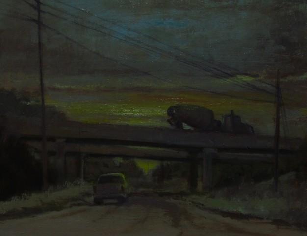 Newton Kansas headed home overpass car cement mixer sunset oil painting