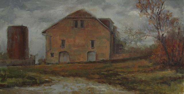 stone barn Tallgrass prairie strong city kansas z bar ranch oil painting plein air