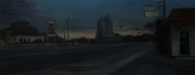 Newton Kansas intersection oil painting plein air