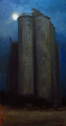 Silo Elevator Newton Kansas Bethel College Oil Painting Debra Payne