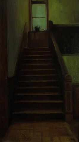 Stairway stairs Newton Kansas Bethel College oil painting debra Payne