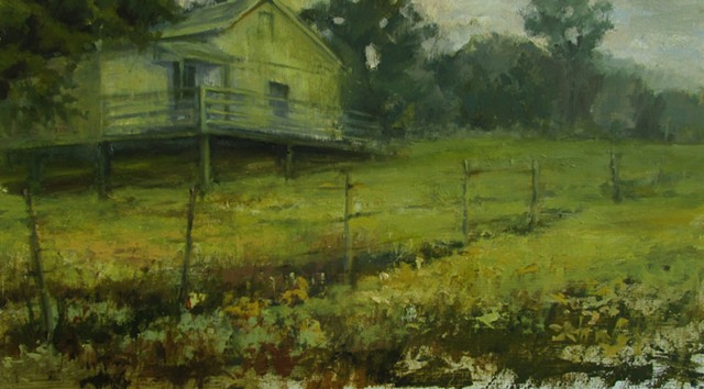 Oil Painting by Debra Payne of a stilted home near Steelville Missouri