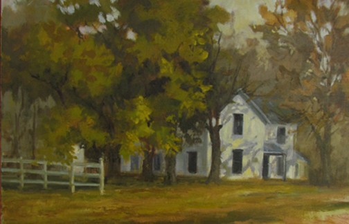 oil painting country house maples