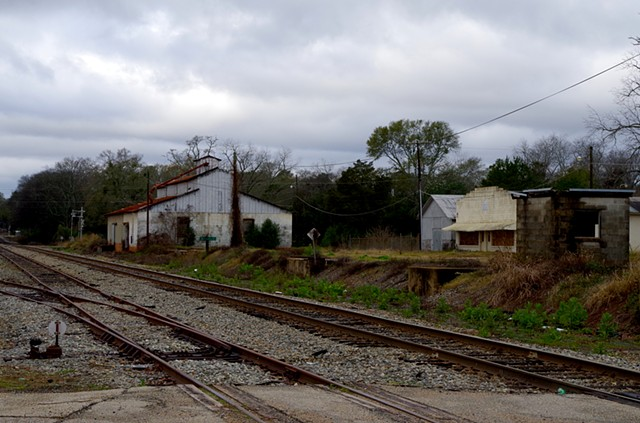 Industrial Buildings by Railroad Tracks.  Dowtown Blakely, GA.