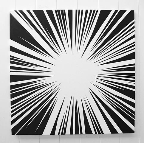 John Zoller, Painting , Burst Of Light Series, explosion, flash of light, abstract, painting of explosion, Miami artist, Art Basel , art gallery,