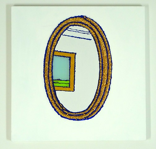 Oval Mirror ,Painting, John Zoller, Art, Miami Artist, Painting Drawing Series, Art for sale, Paintings for sale, Interior Design based art, Abstraction, Fine Art for sale, Portrait, Landscape, Works on Paper, Paintings on Paper, Affordable Art, John Zoll