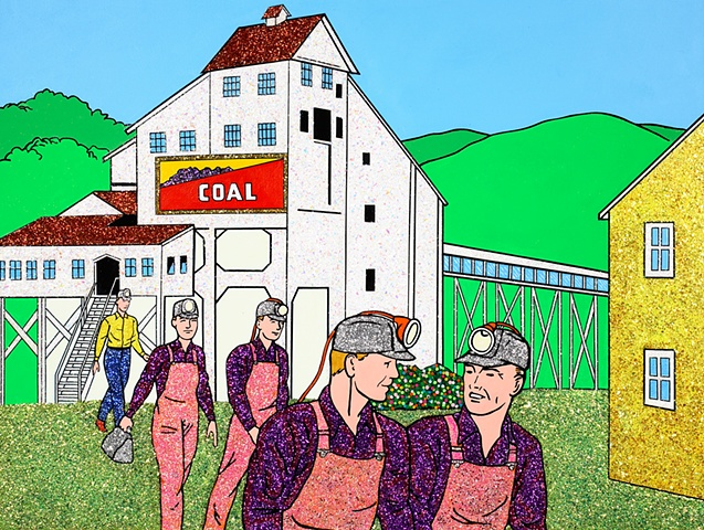 Possibilities Are Endless by John Zoller, Painting by John Zoller, Mirror Painting, Painting of a Mirror, Painting Drawing Seriens by John Zoller, Color & Learn Series by John Zoller,  Coloring Book, Coal Miners, Gay Coal Minners,  Coal Mine,