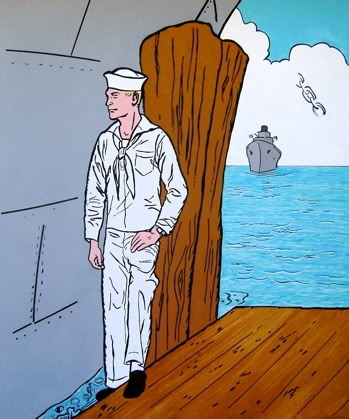 Possibilities Are Endless by John Zoller, Painting by John Zoller, Mirror Painting, Painting of a Mirror, Painting Drawing Seriens by John Zoller, Color & Learn Series by John Zoller, Coloring Book art, Sailor Painting, Sailor on Dock by John Zoller,
