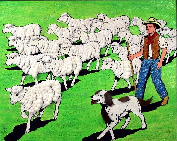 Possibilities Are Endless by John Zoller, Painting by John Zoller, Mirror Painting, Painting of a Mirror, Painting Drawing Seriens by John Zoller, Color & Learn Series by John Zoller, Coloring Book Art, Sheep, Sheep Herder,