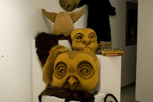 The Beaver and Owl masks with Bison Helmet, wood