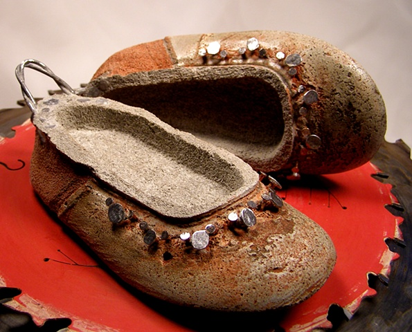 """Baby Ballet"" Flats with metal tacks and heel pulls"