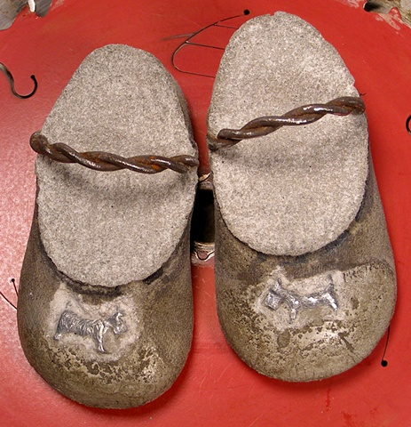 """""""Wee Scottie Slippers"""" old metal fence wire, pewter game pieces."""