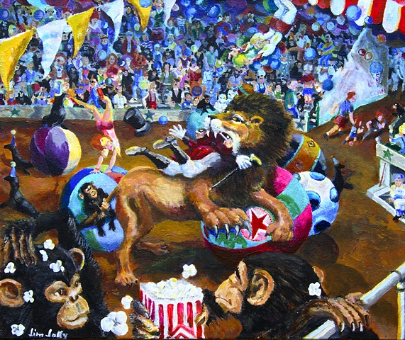 Jim Jolly, art, Little Rock, Arkansas, circus, lion, monkeys