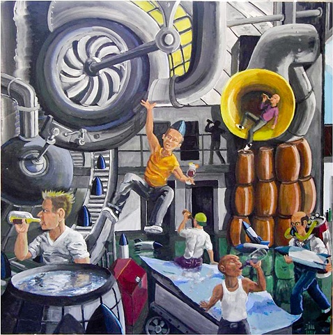 Drinking, men at work, factory, booze, surrealism