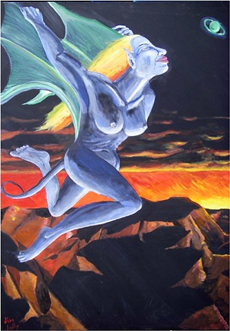 Blue woman, flying woman, alien female, black, orange, blue
