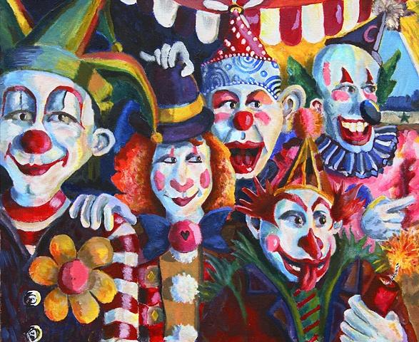 circus, clowns, flower, wig, hats, quintet