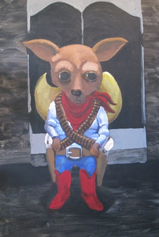 Painting of dog, Chihuahua , Mexican, saloon, sombrero