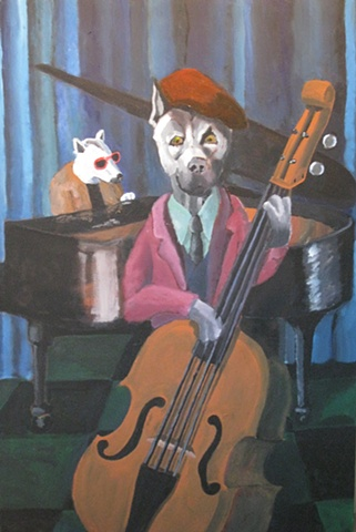 Painting of dog, bass player, upright bass, jazz musician, grand piano, Great Dane