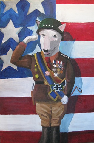 Painting of dog, Patton, American flag, salute, uniform, pit bull