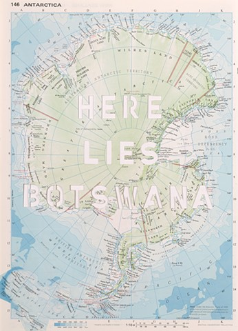 antarctica map, botwana, cut maps, map art, gabrielle teschner