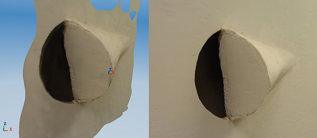 3D scan and photo of wall intrusion