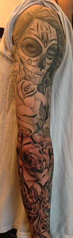 Black and Grey Day of the Dead Sleeve