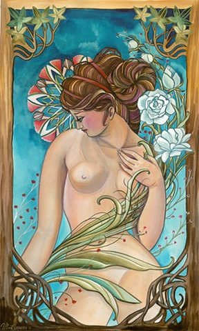 Nude with White Roses