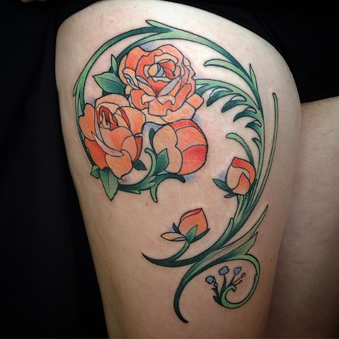 Art Nouveau Roses Thigh Tattoo