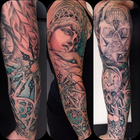 Black and Grey Angel, Skull Clock, and Geometric Skull with Third eye Tattoo Sleeve