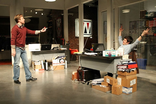 Featuring Michael Esper, Lucas Near-Verbrugghe. Playwrights Horizons, ASSISTANCE 2012 Photo by Joan Marcus
