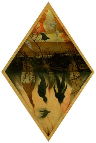 Mixed media collage on diamond wood of murky beach swamp with ghost couple silhouettes raven shadows in underworld hell, by Bonnie Gloris.