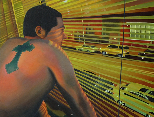 Green oil painting portrait of man with cross tattoo at night looking, contemplating urban street, with shadows from window shades, by fine artist Bonnie Gloris.