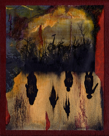 Mixed media collage on wood of forest brush with raven and night of the living dead zombie silhouettes refleted in water, by Bonnie Gloris.