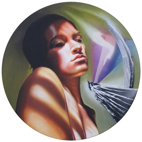 Oil painting circular portrait of nude woman with shadows from window shades, broken glass pointed at her neck, by fine artist Bonnie Gloris.