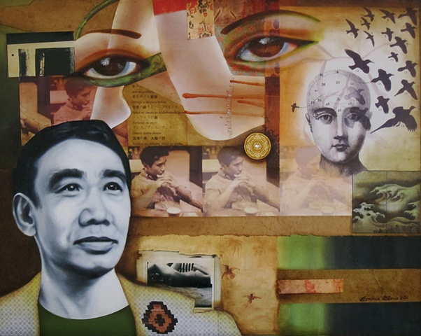 Mixed media collage and oil painting portrait of Japanese author Haruki Murakami, with phrenology head and flock of migrating birds and nude women, by Bonnie Gloris.