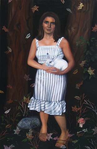 Oil painting with spray paint, portrait of woman in striped dress, in woods, holding rabbit, with falling leaves and mushroom, by fine artist Bonnie Gloris.