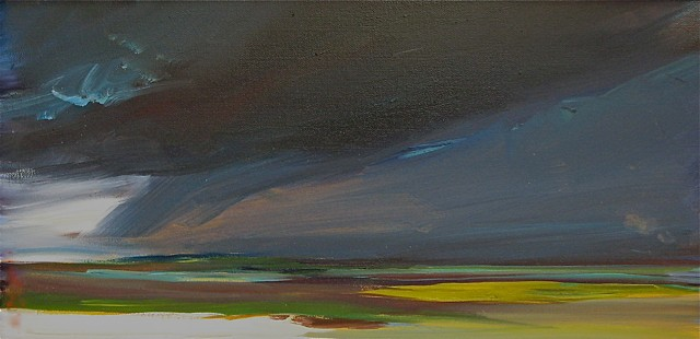 """Jo Brown, """"Tornado"""" (2011) 8"""" x 16"""" oil on archival canvas board depicts tornado moving over Boston as seen from Cape Cod"""