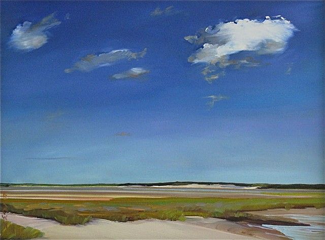 "Jo Brown, ""Harbinger"" (copyright 2010) oil on archival canvas board 12"" x 16"". Fine art seascape oil painting by Baltimore artist Jo Brown, depicting singular high white clouds on deep blue summer sky above low salt flats, Skaket Beach, Orleans, MA, paint"
