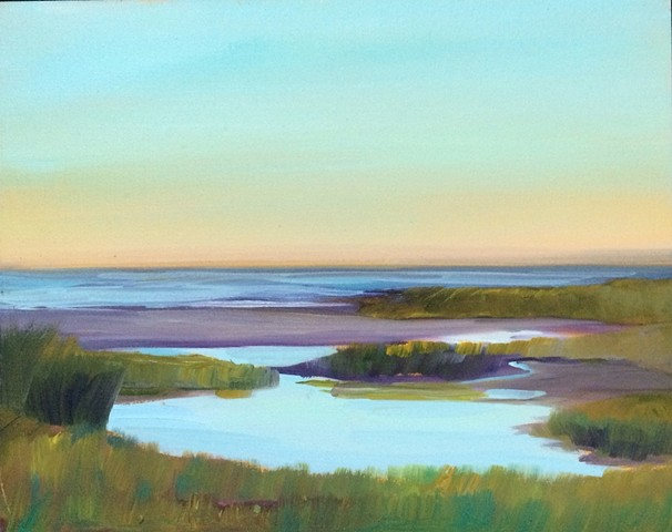 "Abstract-realist oil painting, ""Concord,"" by American artist Jo Brown, depicting still water in a tidal pool at dusk."