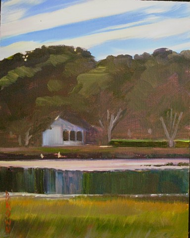 "Jo Brown, ""Still,"" 10"" x 8"" oil on archival canvas board [ref#9.6.13.3] 6pm Wellfleet Duck Creek low tide"