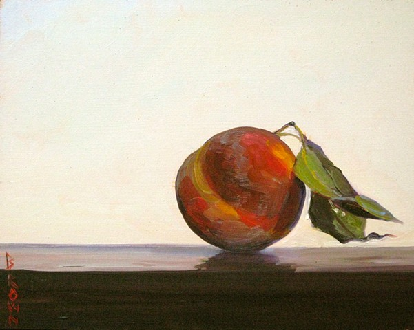 "Jo Brown, ""Peach with two leaves,"" (© 2013) 8"" x 10"" oil on archival canvas board"