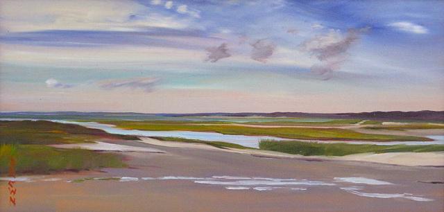 """Jo Brown, """"Harbingers,"""" oil on canvas board, 8"""" x 16"""" (2011)"""