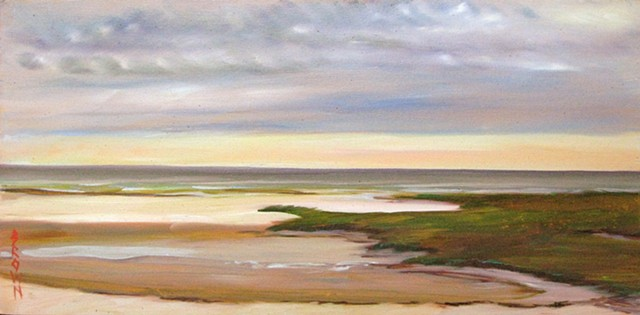 "Jo Brown, ""Flood Tide,"" 8"" x 16"" oil on archival canvas board (2013)"