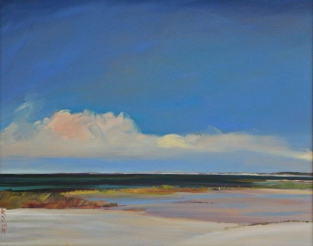 "Jo Brown, ""Big Pink Cloud"" (copyright 2011) 16"" x 20"" oil on archival canvas board depicting Cape Cod Bay seascape in luminist yet abstract style."